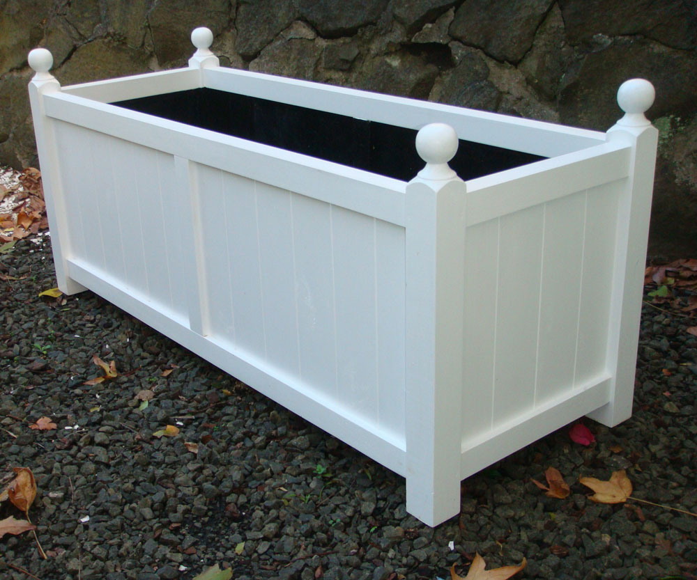 Classic Large Wooden Trough Planter With Finials In Arctic White Finish
