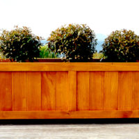 Coast Large Wood Trough Planter in Natural Stained Finish