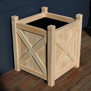 HAMPTON square planter with cross detail