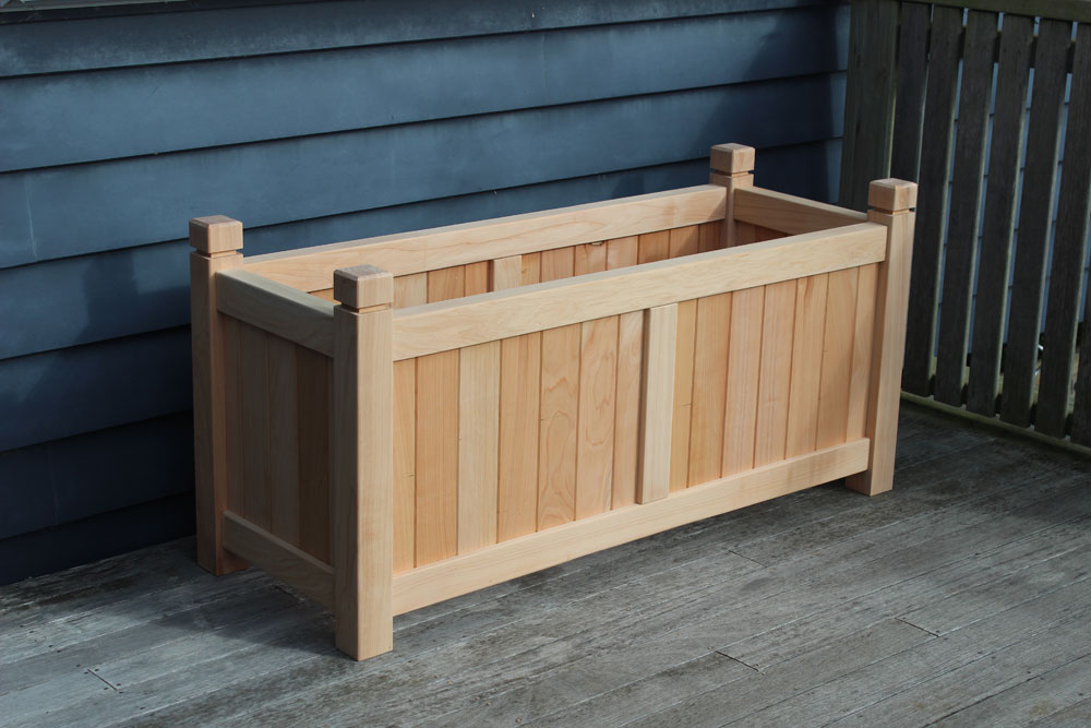 Henley Extra Large Wooden Trough Planter Natural With Square Finials