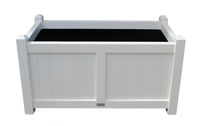 Henley Large Wood Planter Trough with chamferred posts in white