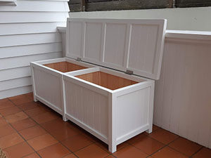Wood Indoor Outdoor Storage Box with two compartments