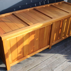 Extra Large BoxSeat Wood Indoor Outdoor Storage Angled View