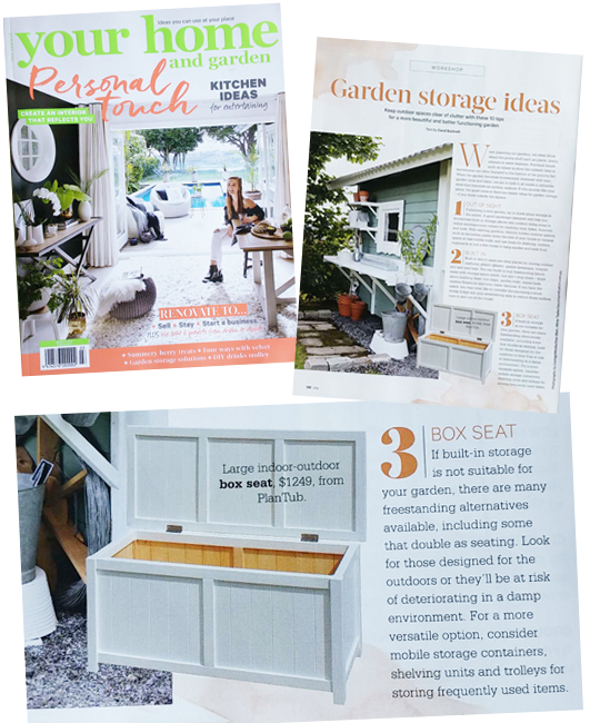 BoxSeat Storage Solution featured in Your Home and Garden March 2017 issue